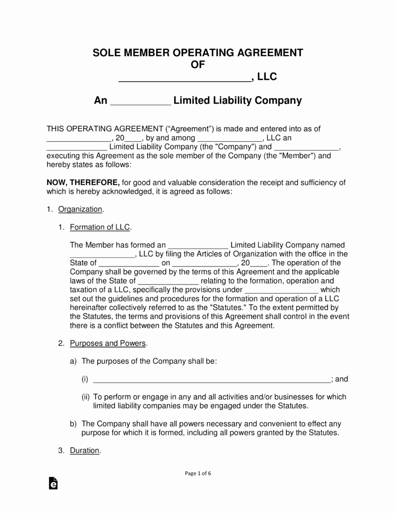 Llc Transfer Of Ownership Agreement Sample Elegant Free Single Member Llc Operating Agreement Templates Pdf