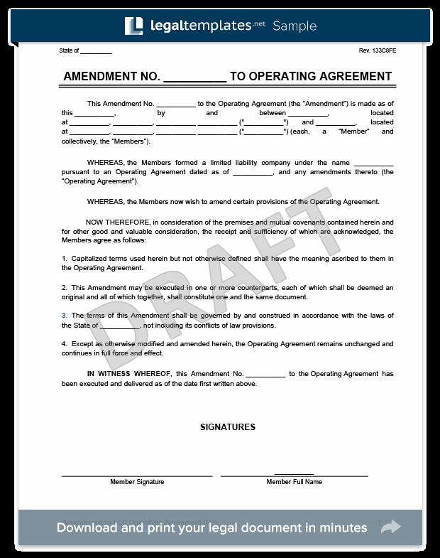 Llc Transfer Of Ownership Agreement Sample Lovely Amendment to An Llc Operating Agreement