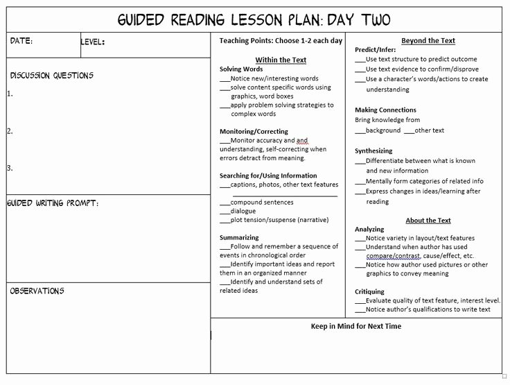 Lli Lesson Plan Template Luxury Printable Reading Recovery Lesson Plan Template – Free