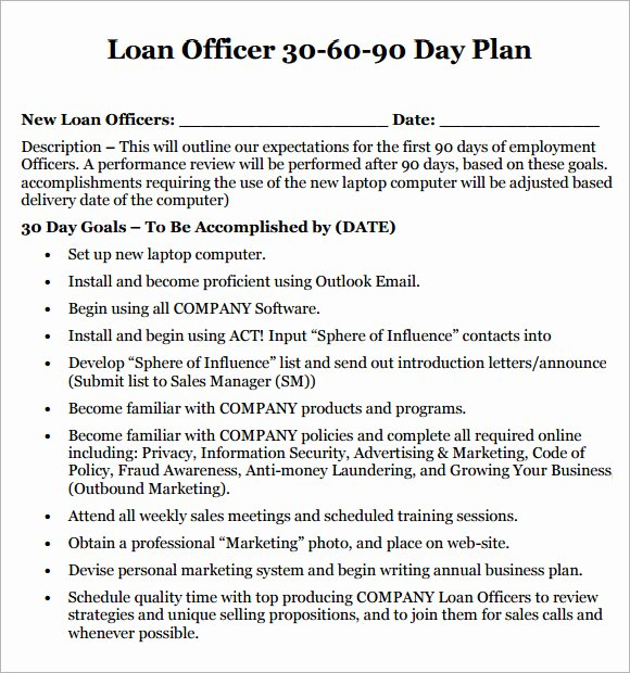 Loan Officer Marketing Plan Template Awesome 14 Sample 30 60 90 Day Plan Templates Word Pdf