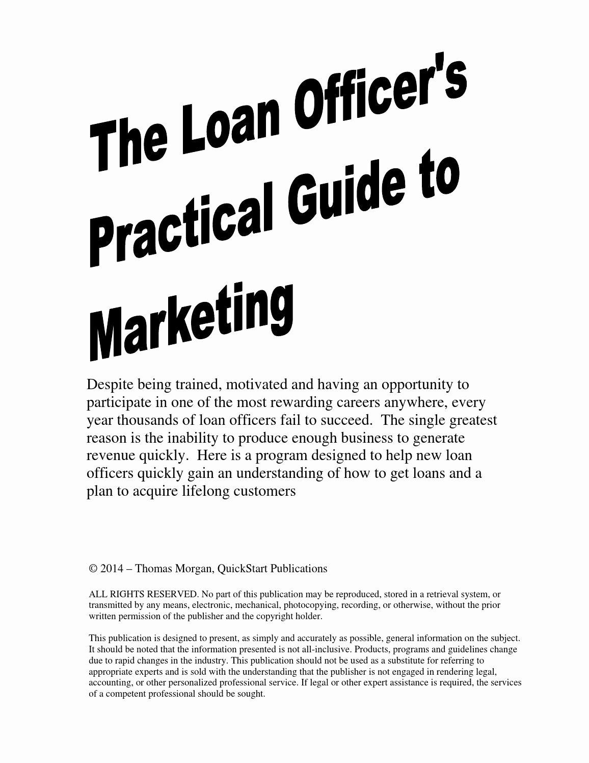Loan Officer Marketing Plan Template Inspirational Loan Ficer Marketing Guide Preview by Quickstart