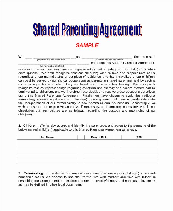 Long Distance Parenting Plan Template Beautiful Parenting Agreement Templates 8 Free Pdf Documents