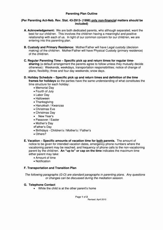 Long Distance Parenting Plan Template Best Of top 13 Parenting Plan Templates Free to In Pdf format