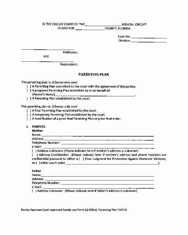 Long Distance Parenting Plan Template New 2018 Parenting Plan form Fillable Printable Pdf & forms