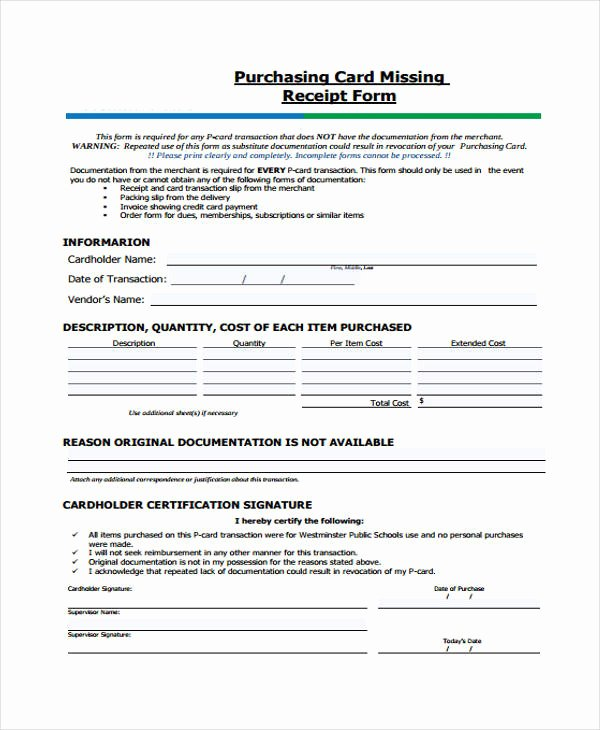 Lost Receipt form Template Awesome Printable Receipt forms 41 Free Documents In Word Pdf