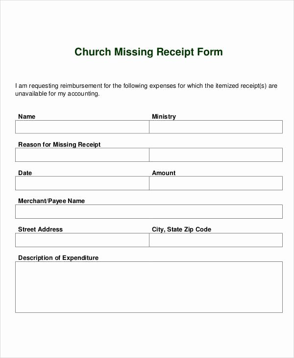 Lost Receipt form Template Inspirational Receipt forms In Pdf