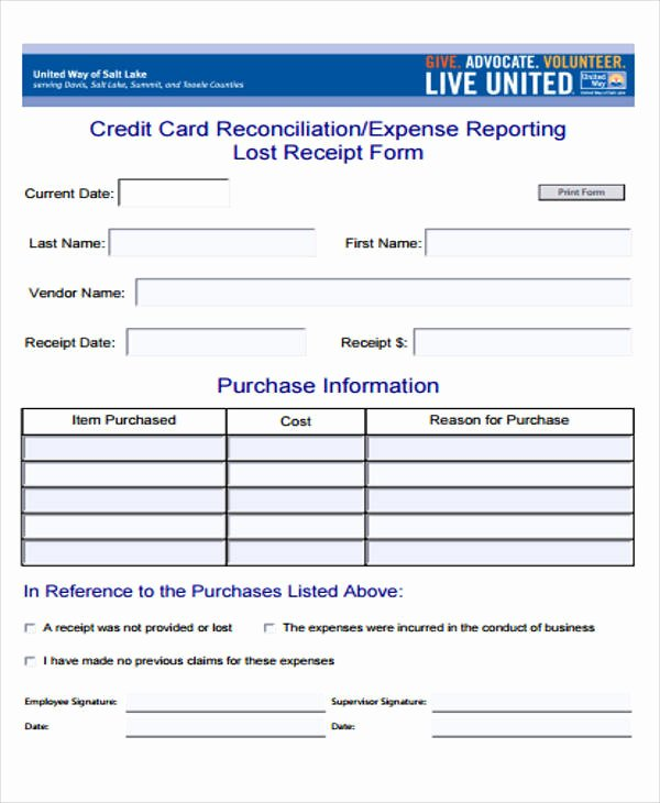 Lost Receipt form Template Lovely 40 Sample Receipt forms