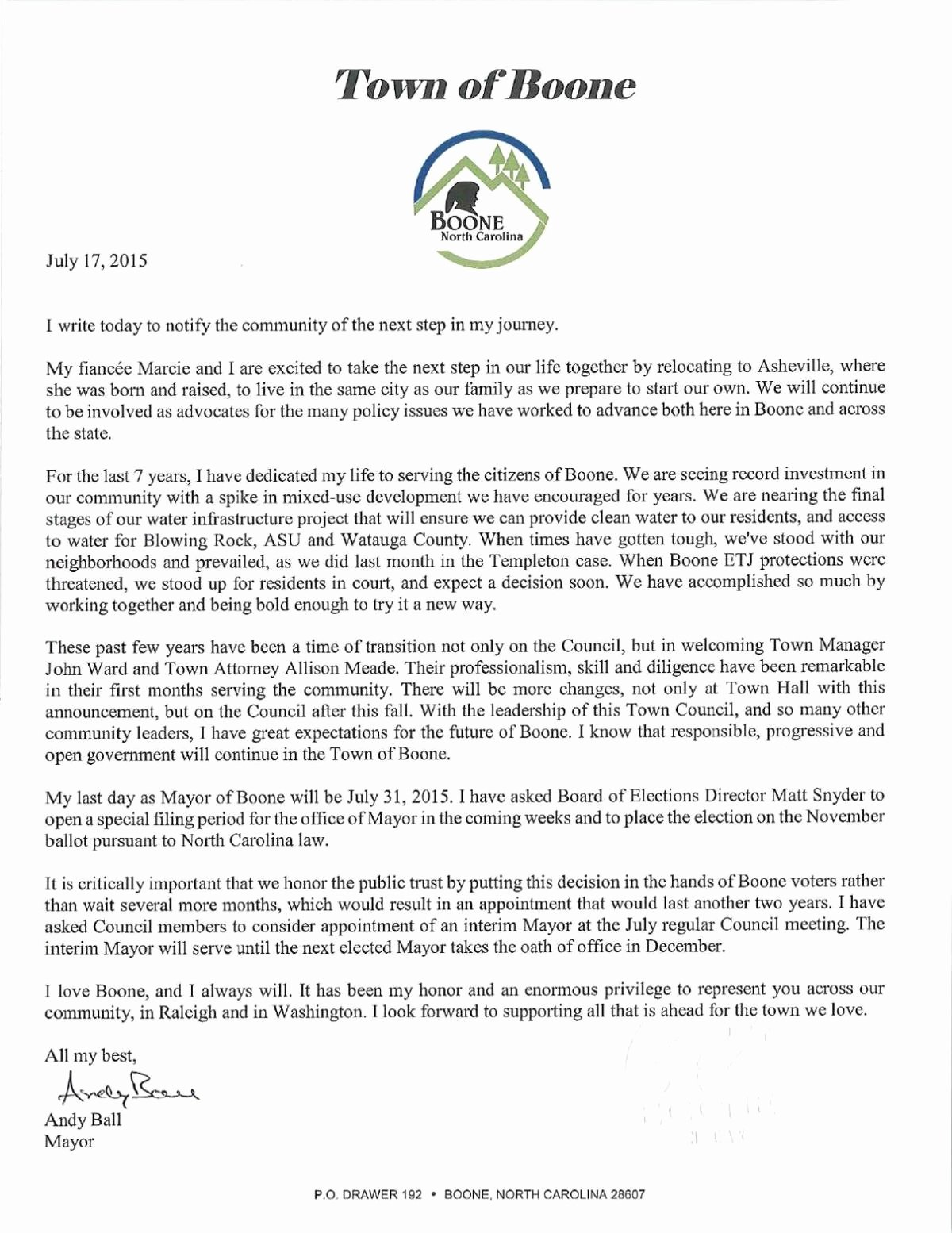Lox Letter Example Inspirational Ball to Resign as Boone Mayor News
