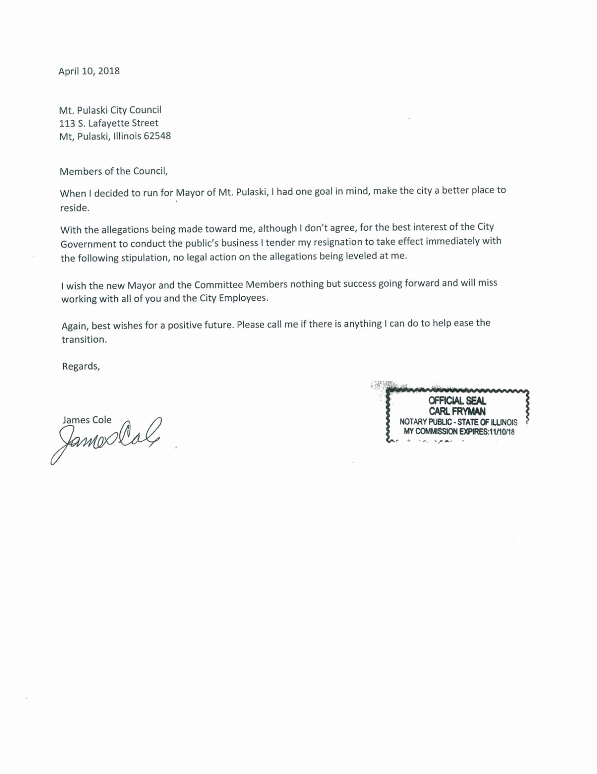 Lox Letter Example Inspirational Mount Pulaski Mayor Resigns asks City Council Not to Take