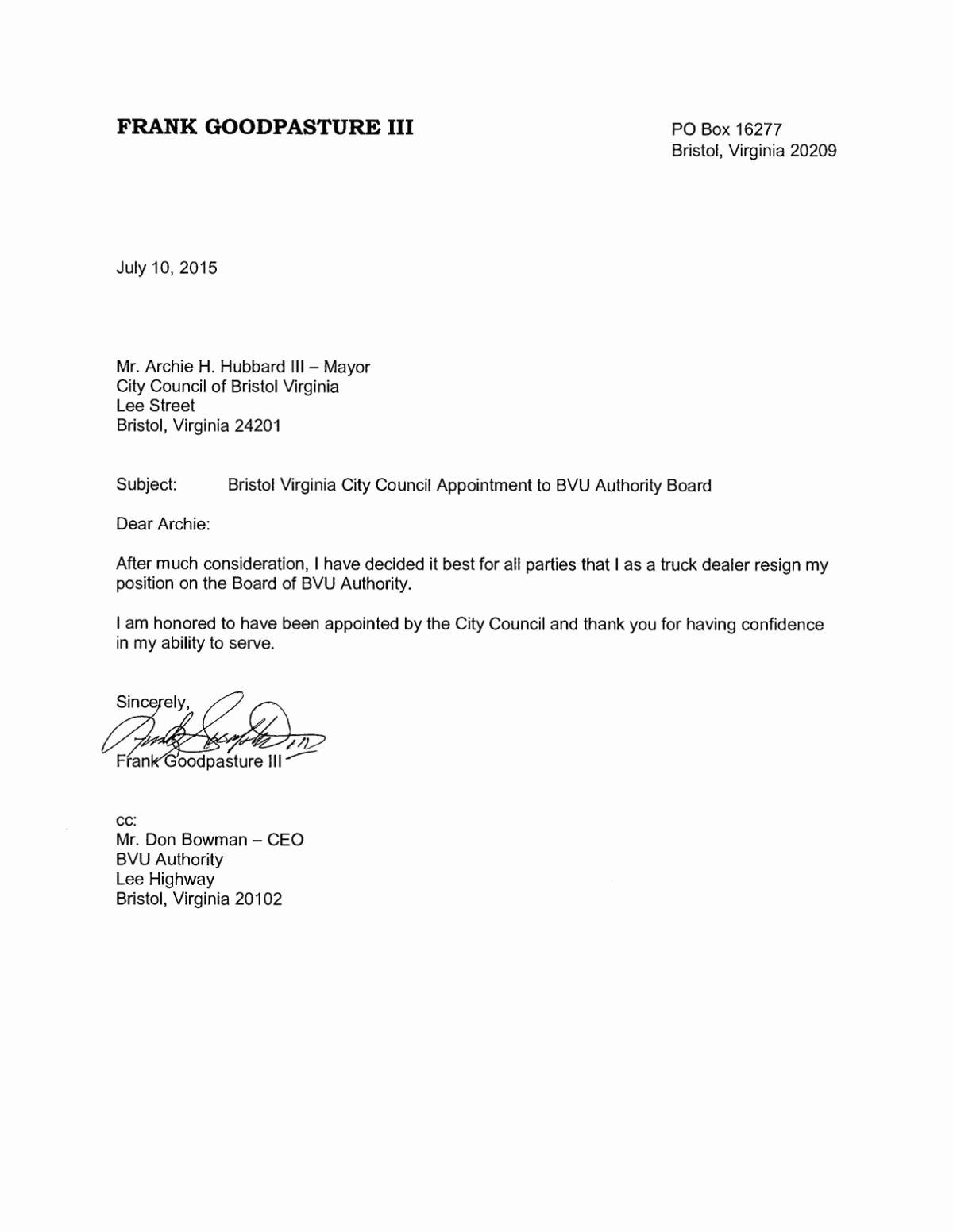 Lox Letter Example Luxury Frank Goodpasture Resignation Letter