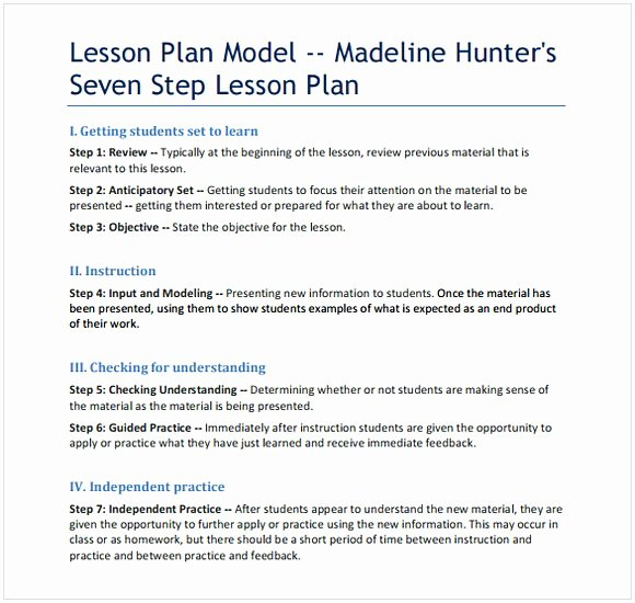Madeline Hunter Lesson Plan Template Awesome Madeline Hunter Lesson Plan Template