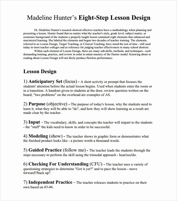 Madeline Hunter Lesson Plan Template Awesome Sample Madeline Hunter Lesson Plan Templates – 10 Free
