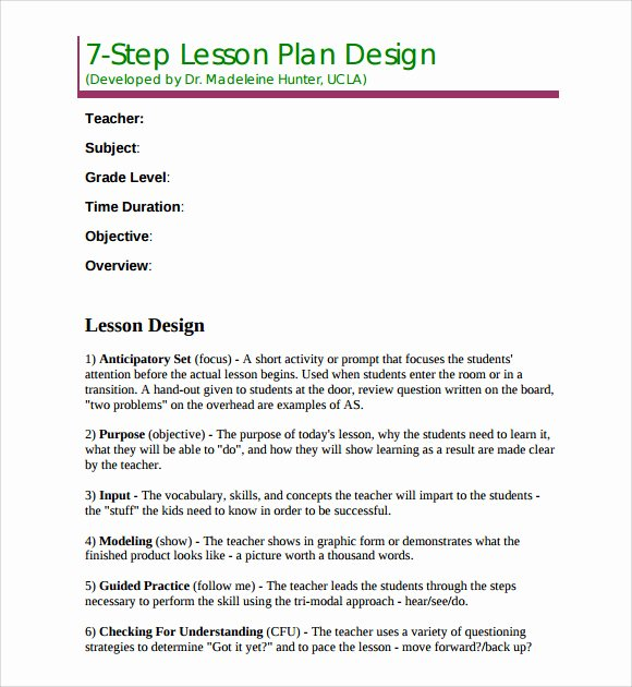 Madeline Hunter Lesson Plan Template Best Of 9 Madeline Hunter Lesson Plan Templates Download for Free
