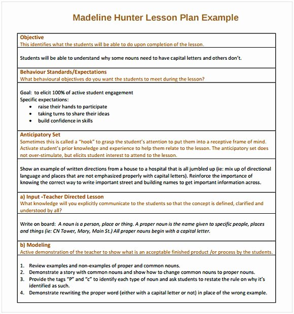 Madeline Hunter Lesson Plan Template Best Of Madeline Hunter Lesson Plan Template