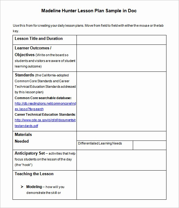 Madeline Hunter Lesson Plan Template Inspirational Lesson Plan Template – 43 Free Word Excel Pdf format