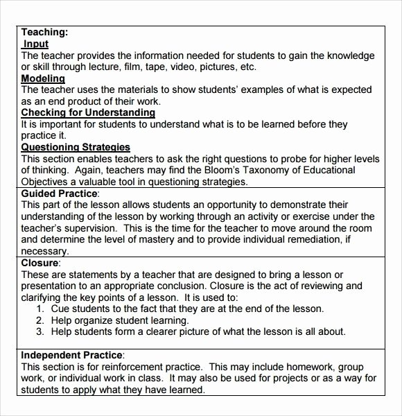 Madeline Hunter Lesson Plan Template Lovely Madeline Hunter Lesson Plan format Template – Carnaval