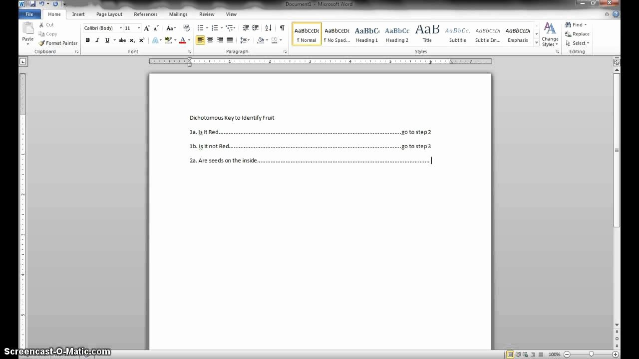 Making form In Word Awesome Making A Dichotomous Key In Microsoft Word