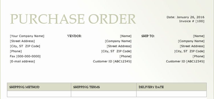 how to create a purchase order form with microsoft word