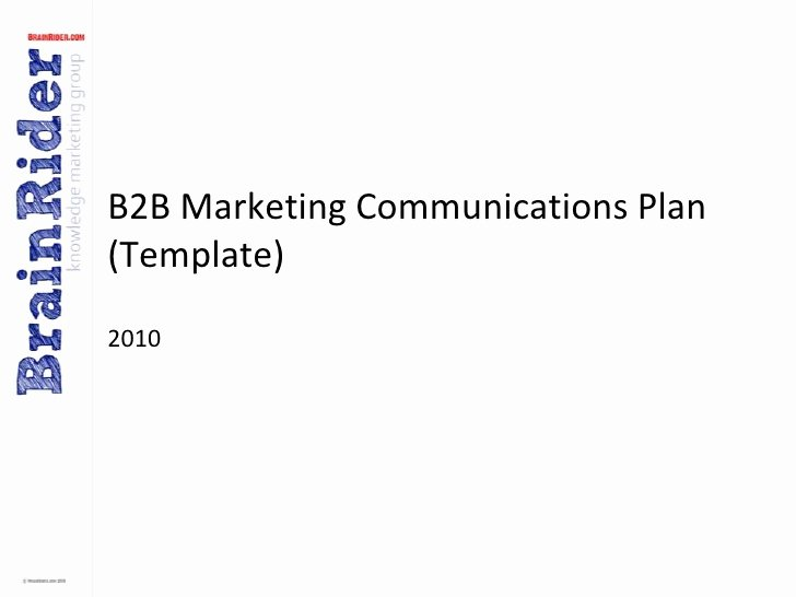 Marketing Communications Plan Template Luxury B2b Marketing Munications Plan Template V2