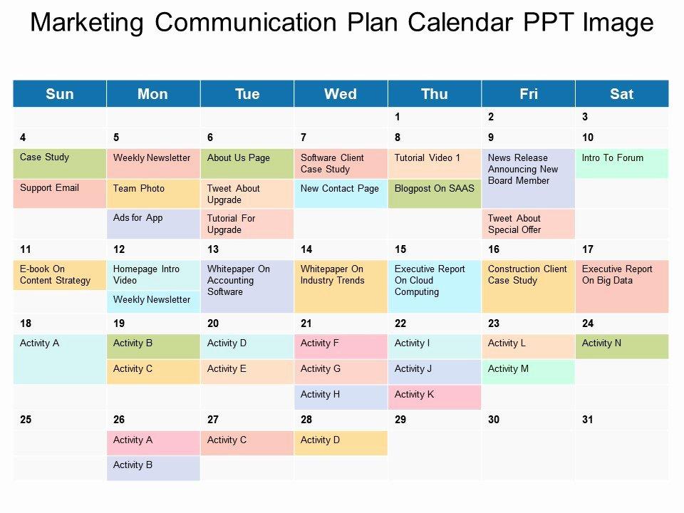 Marketing Communications Plan Template Luxury Marketing Munication Plan Calendar Ppt Image