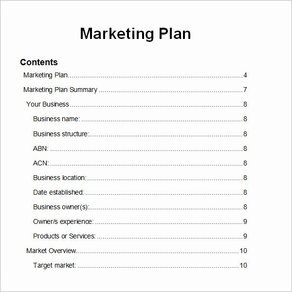 Marketing Plan Template Word Awesome Sample Marketing Plan Template 9 Free Documents In Word