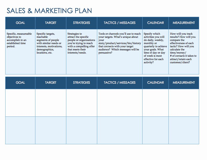 Marketing Plan Template Word Luxury Free Sales Plan Templates Smartsheet