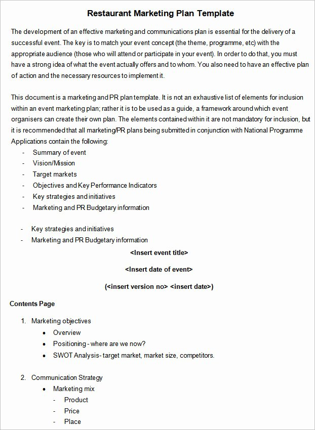 Marketing Plan Template Word Unique 12 Restaurant Marketing Plan Examples Pdf Word Pages