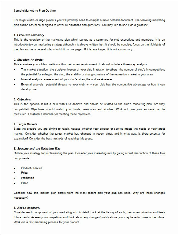 Marketing Plan Template Word Unique Marketing Plan Outline Template 13 Free Sample Example