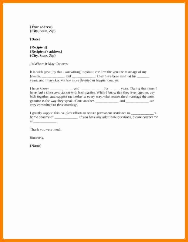 Marriage Letter for Immigration Sample Inspirational 7 Letter Of Re Mendation for Immigration Marriage