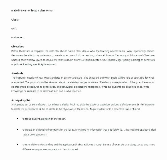 Marzano Lesson Plan Template Beautiful Marzano Lesson Plan format Template – Briliant Lesson Plan