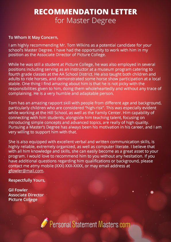 Masters Program Recommendation Letter Awesome Masters Personal Statement Example