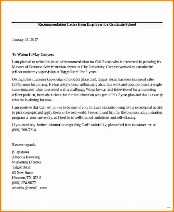 Masters Program Recommendation Letter Elegant 8 Graduate School Letter Of Re Mendation From Employer
