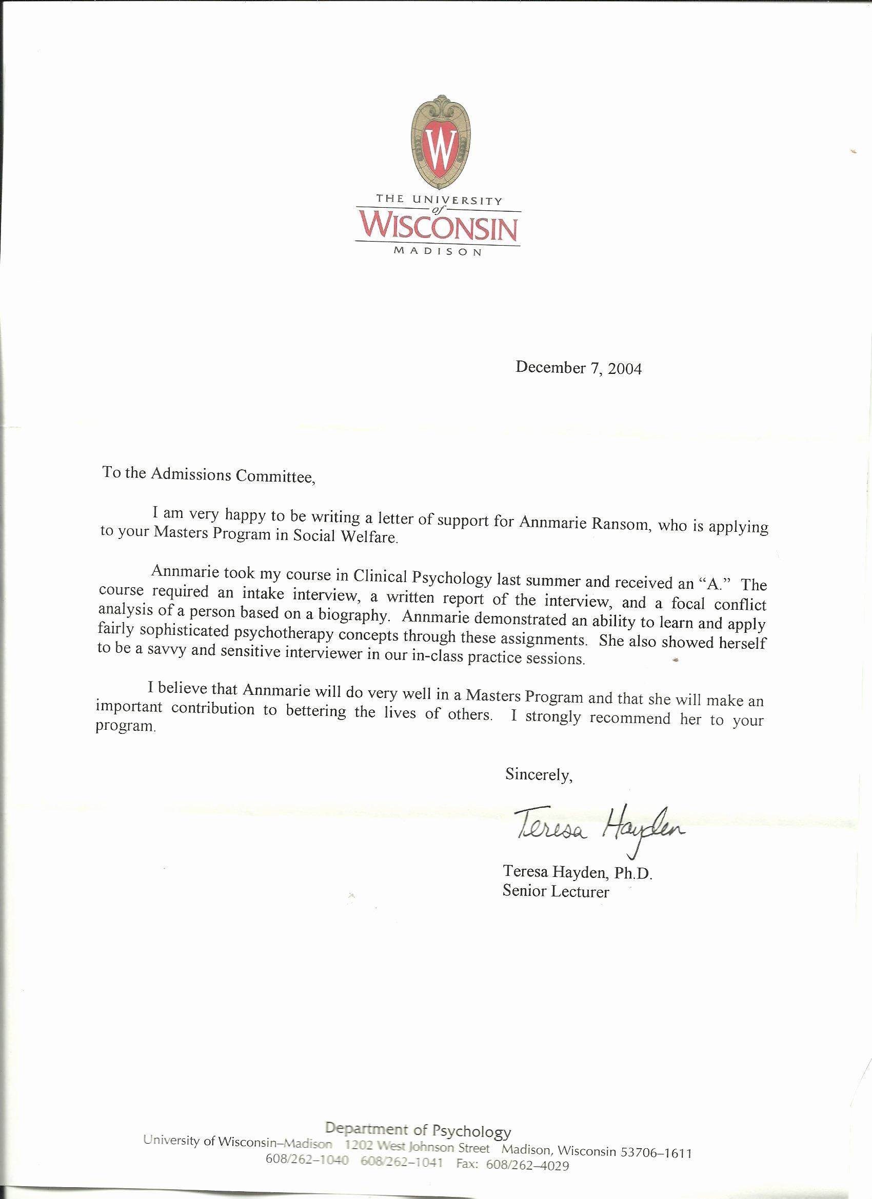 Masters Program Recommendation Letter Unique Graduate School Re Mendation Letter