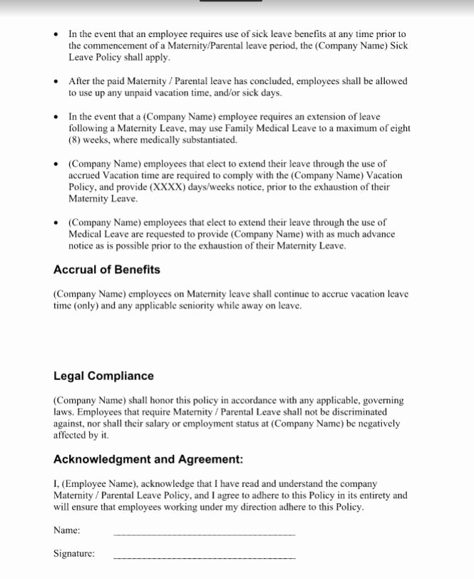 Maternity Leave Plan Template Lovely Maternity Leave Policy Examples Template Doc