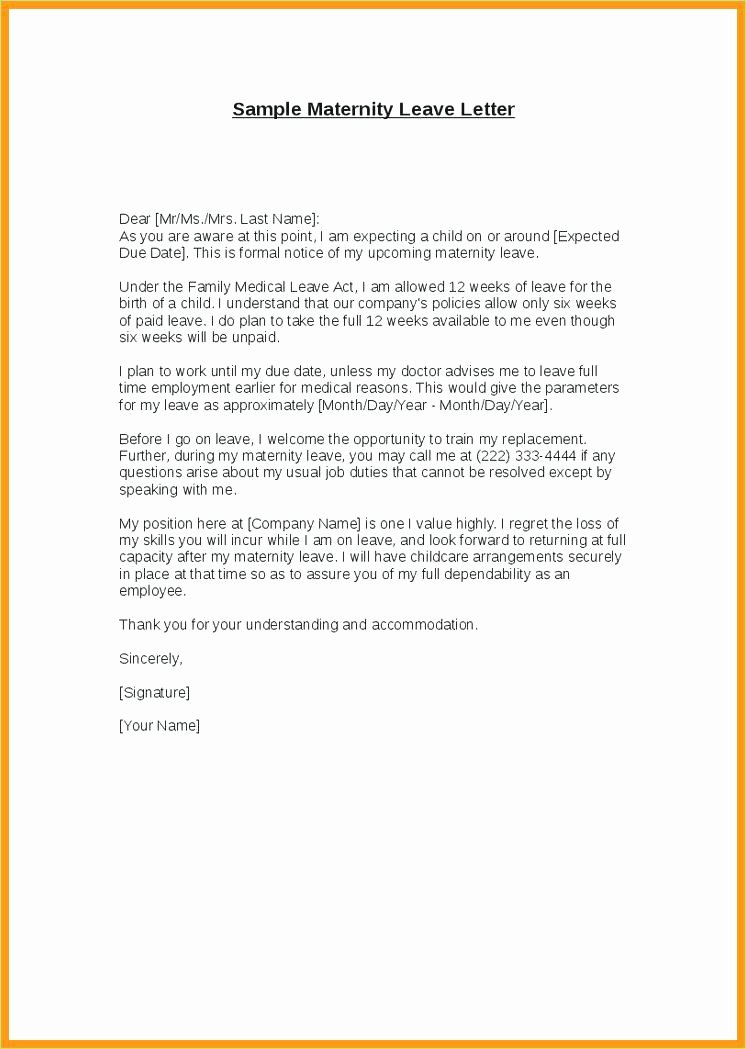 Maternity Leave Plan Template Luxury Sample Leave Absence Letter to Employee New Example