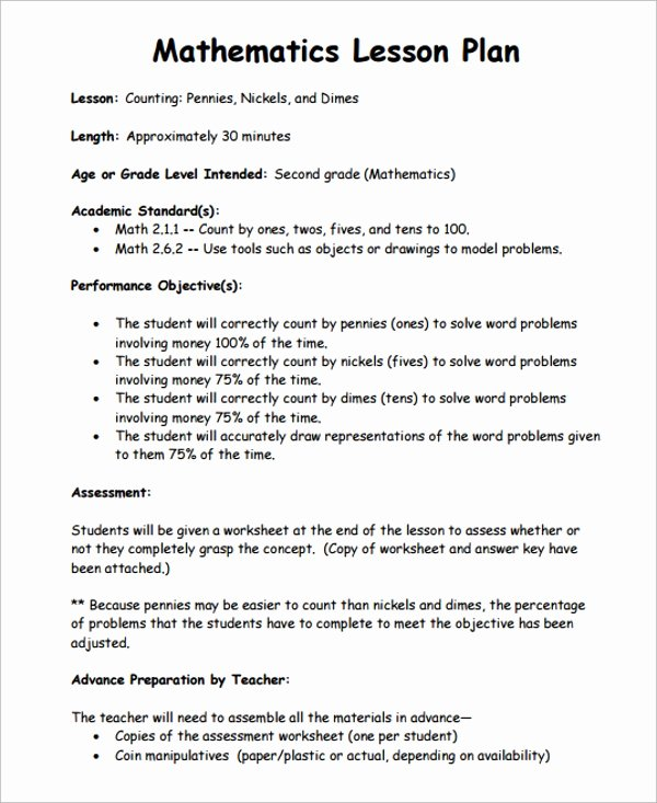 Math Lesson Plan Template Awesome 10 Math Lesson Plan Templates