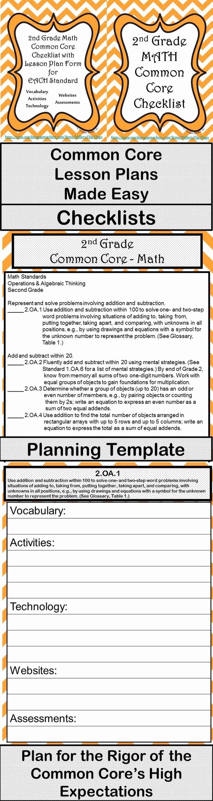 Math Lesson Plan Template Beautiful 2nd Grade Math Mon Core Checklist Lesson Planning