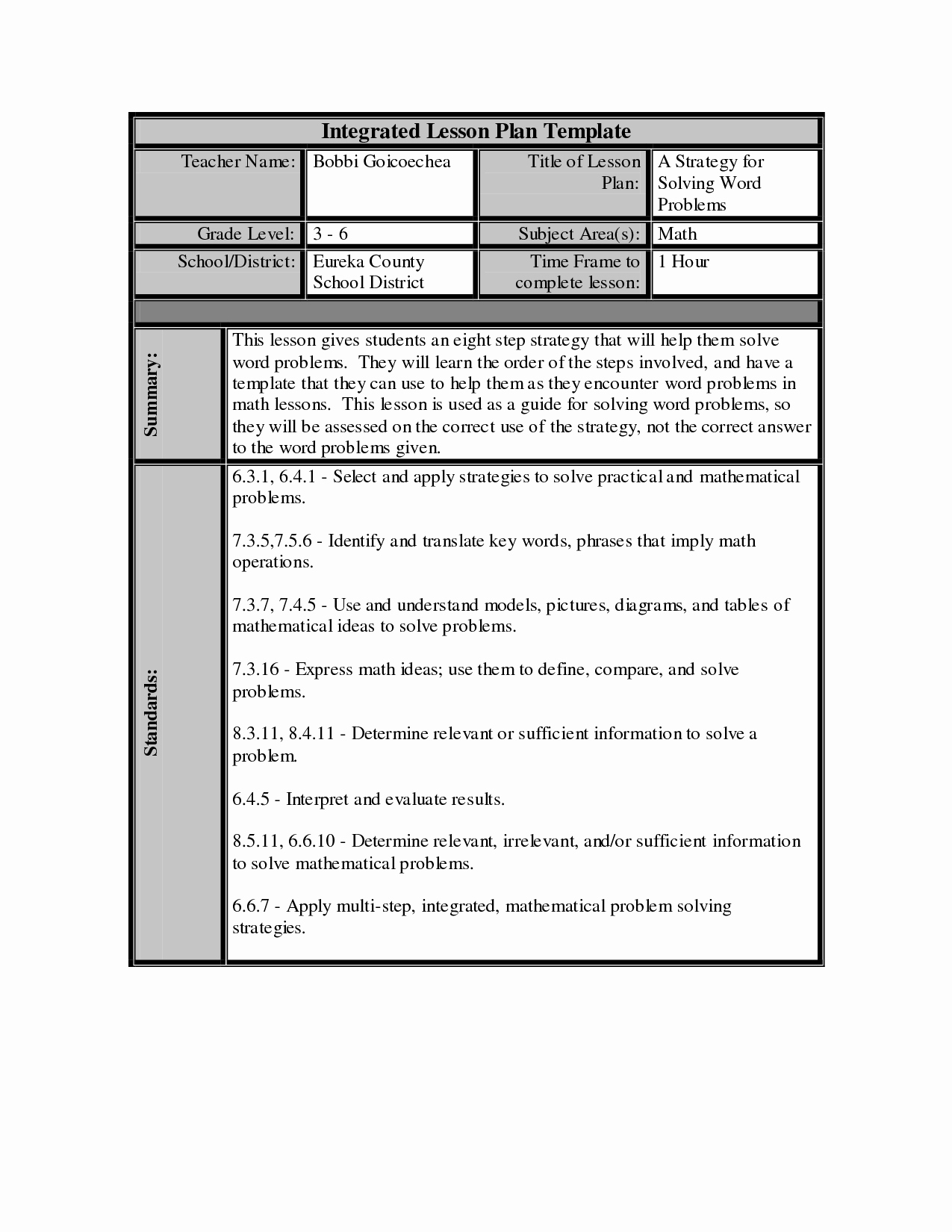 post math lesson plan template