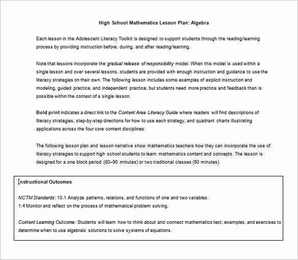 Math Lesson Plan Template Luxury High School Lesson Plan Template 6 Free Word Documents
