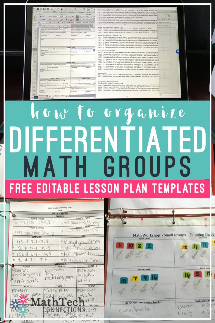 Math Workshop Lesson Plan Template Elegant How to Plan & organize Differentiated Math Groups