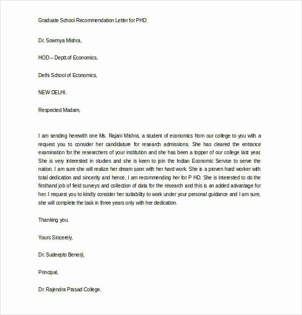Mba Letter Of Recommendation Best Of 44 Sample Letters Of Re Mendation for Graduate School