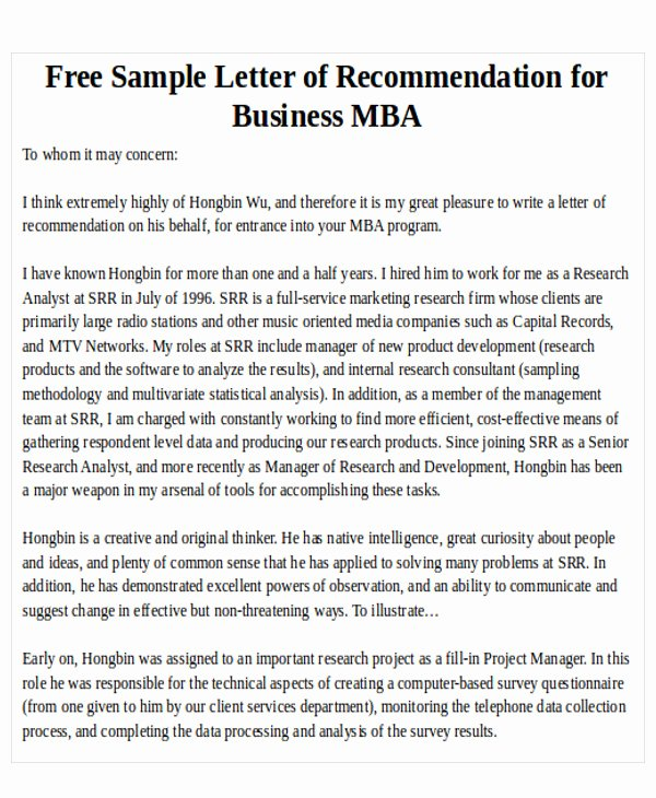 Mba Letter Of Recommendation Fresh 7 Sample Mba Re Mendation Letter Free Sample Example