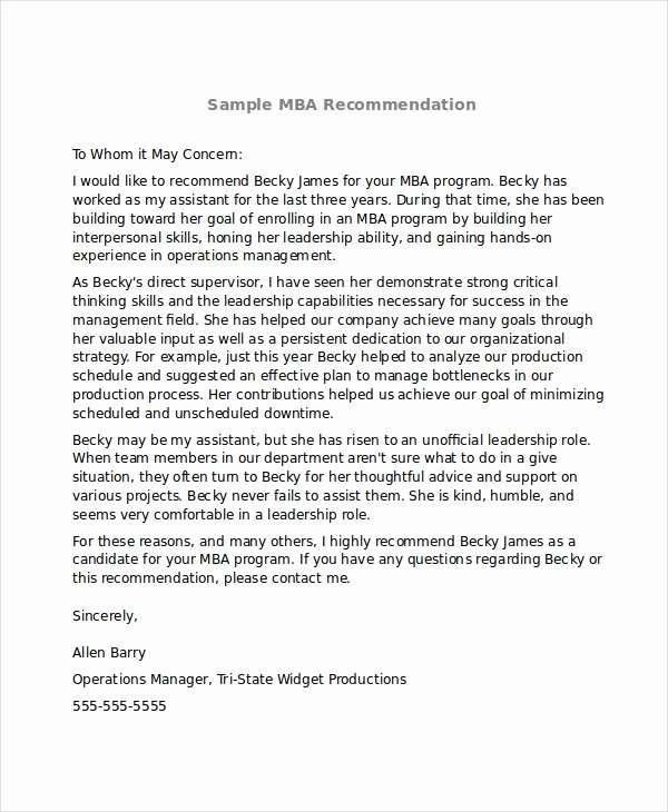 Mba Letter Of Recommendation Inspirational 6 Sample Mba Re Mendation Letters Pdf Word