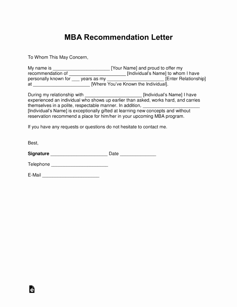 Mba Letter Of Recommendation Sample Beautiful Free Mba Letter Of Re Mendation Template with Samples