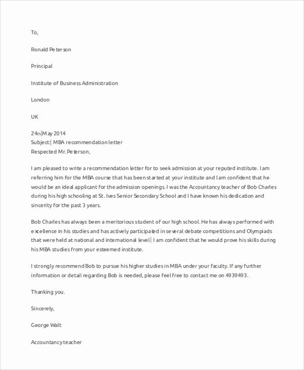 Mba Recommendation Letter Examples Unique Sample Letter Of Re Mendation 7 Examples In Word Pdf