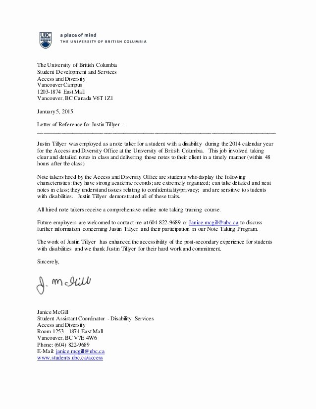 Mba Recommendation Letter Tips Best Of Reference Letter the University Of British Columbia