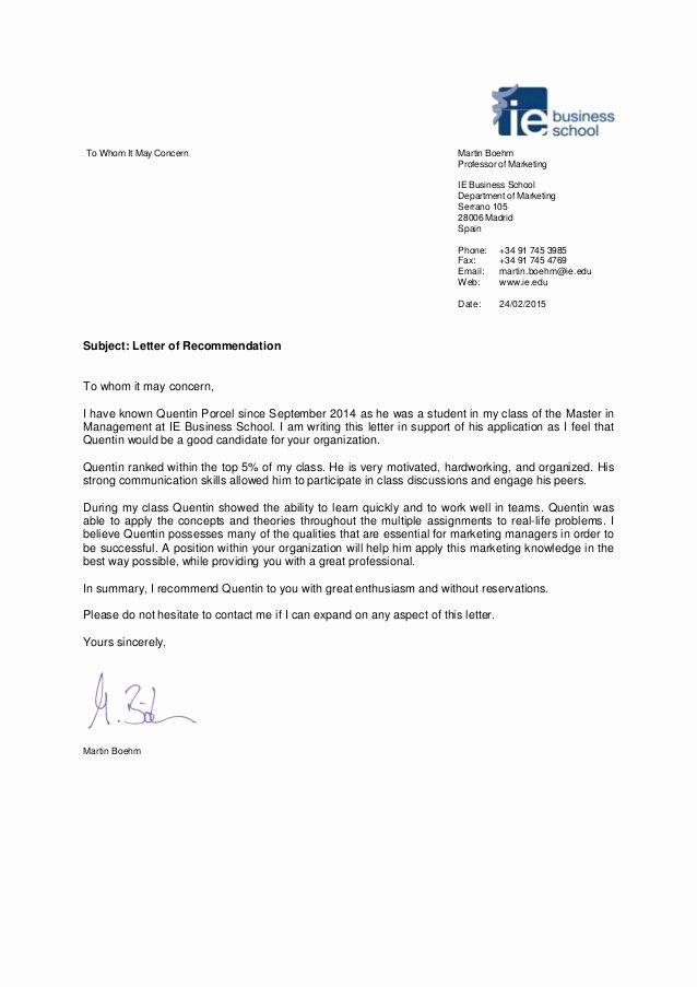 Mba Recommendation Letter Tips Elegant Quentin Porcel Re Mendation Letter 2015 02 24 Mb Pdf