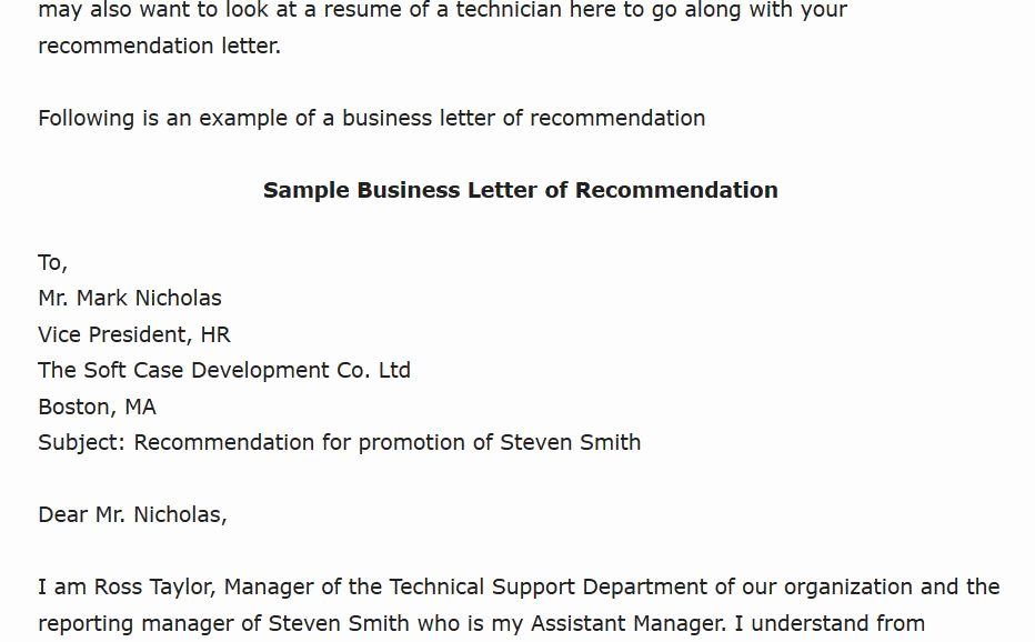 Mba Recommendation Letter Tips Elegant Sample Business Letter Of Re Mendation