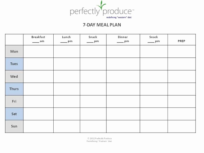 Meal Plan Calendar Template Awesome Perfectly Produce Free 7 Day Meal Planning Template My