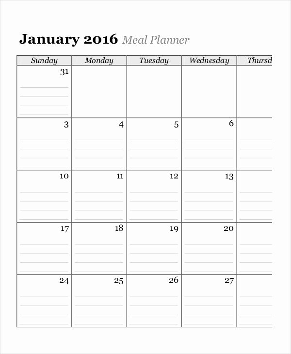 Meal Plan Calendar Template Best Of Monthly Calendar 13 Free Word Pdf Documents Download